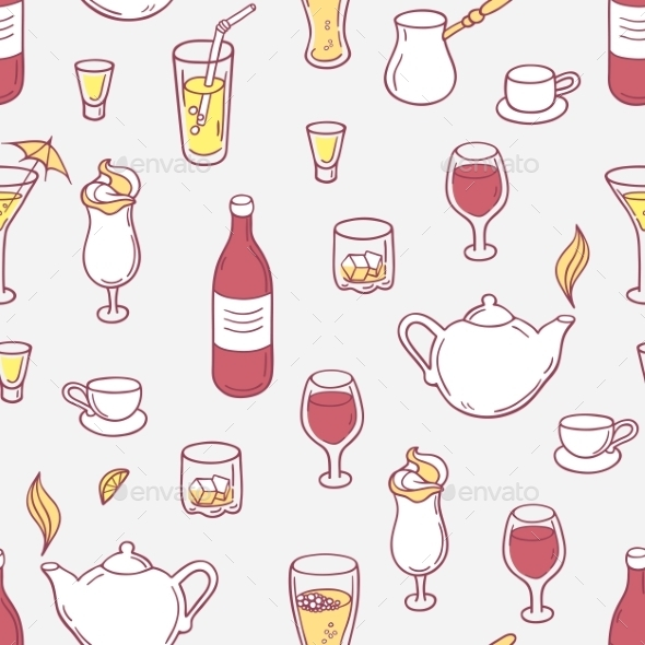 Seamless Pattern With Doodle Drinks In Vector - Patterns Decorative