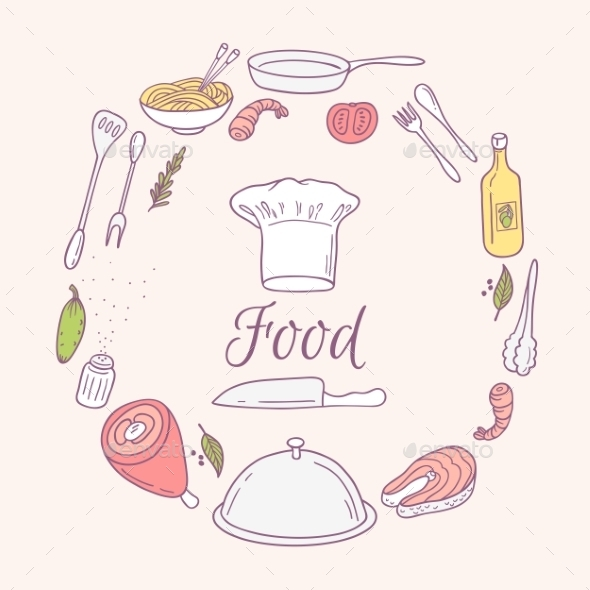 Round Card With Doodle Food Icons. Hand Drawn - Food Objects
