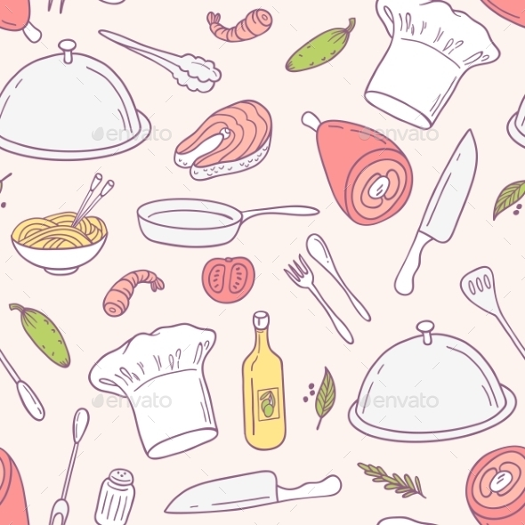 Doodle Food Seamless Pattern In Vector. Culinary - Patterns Decorative