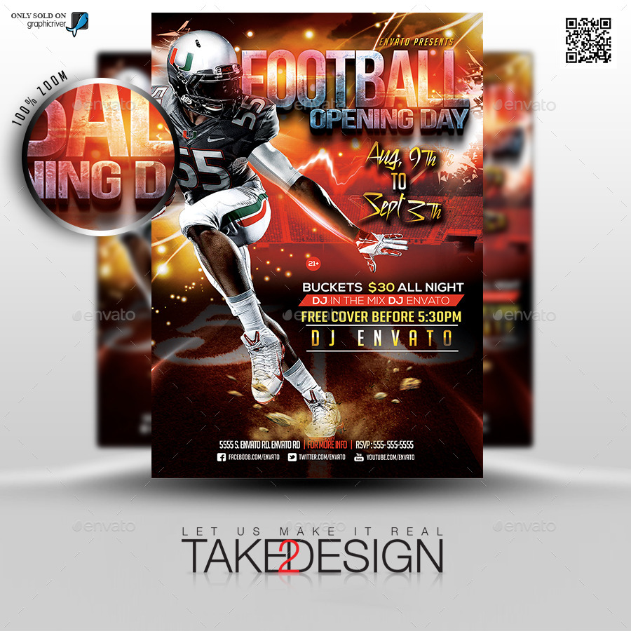 football game flyer template by take2design graphicriver