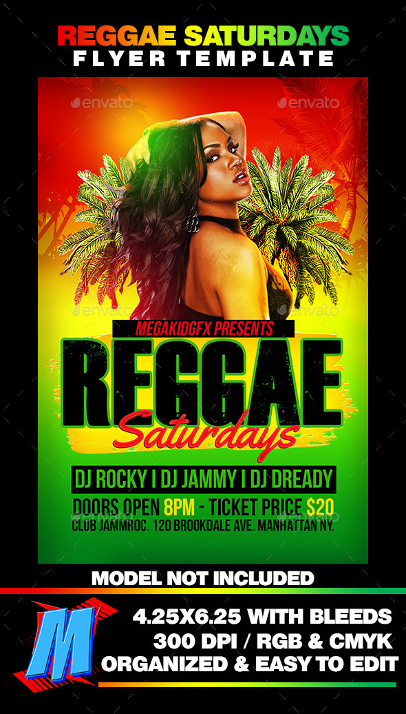 Reggae Saturdays Flyer Template - Clubs & Parties Events