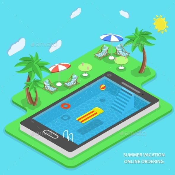 Summer Vacation Online Ordering Vector Concept. - Travel Conceptual