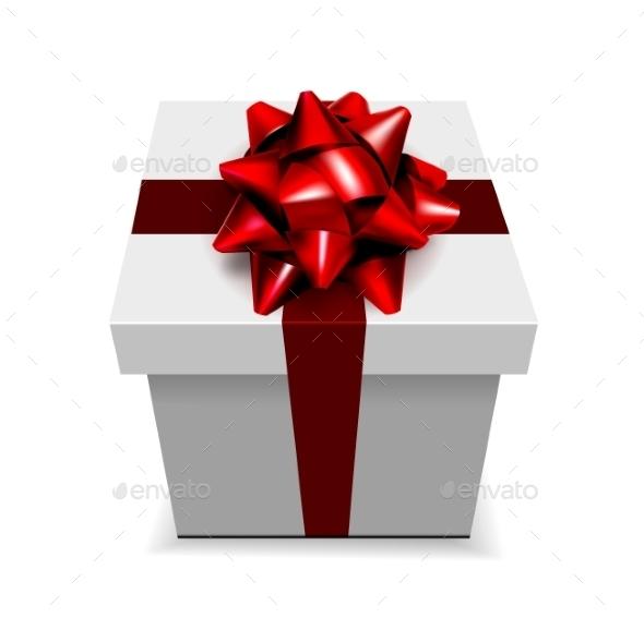 Red Bow and Box - Christmas Seasons/Holidays