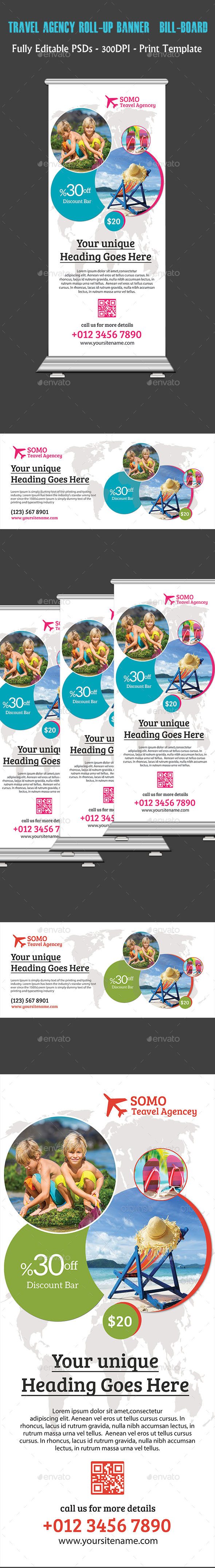 Travel Agency Roll-up Banner & Bill-board - Flyers Print Templates