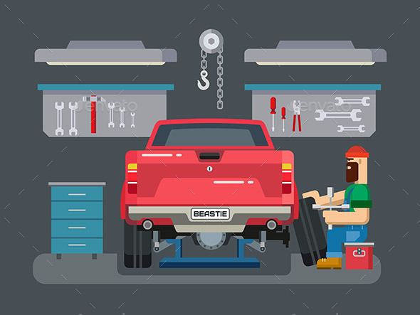 Mechanic Repairs Car in the Garage - Services Commercial / Shopping