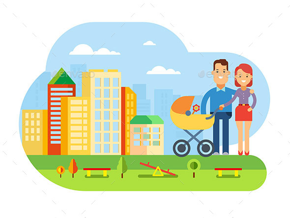 Happy Young Family with Baby on City Landscape - Buildings Objects