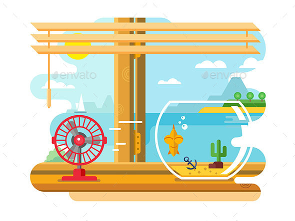 Fan and Aquarium on Windowsill - Landscapes Nature