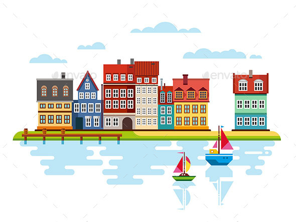 Harbor Waterfront with Boats on River - Travel Conceptual