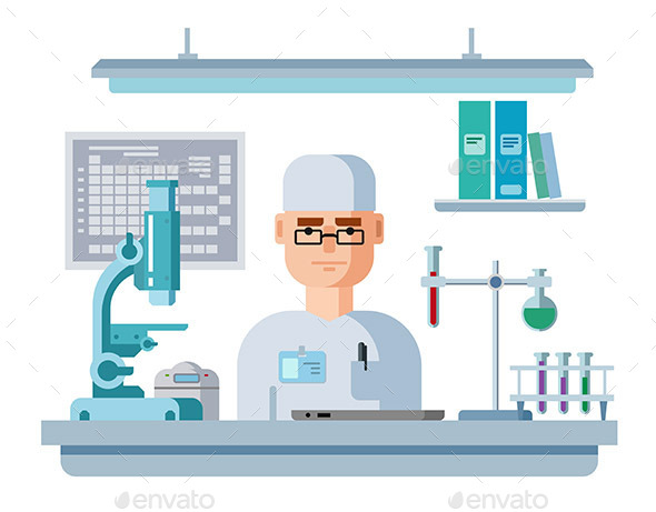 Doctor Sits In Laboratory - Health/Medicine Conceptual