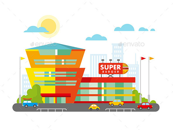 Supermarket Building Facade with Parking in Front - Retail Commercial / Shopping