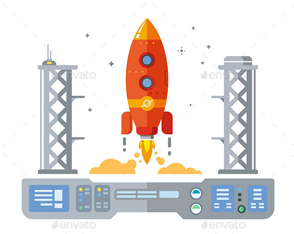 Rocket Startup Flat Design Concept - Miscellaneous Vectors
