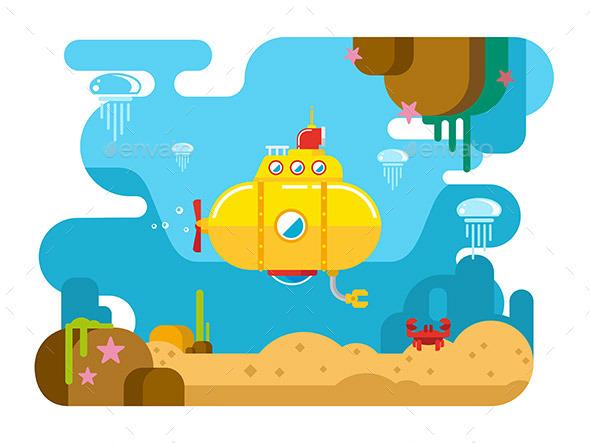 Submarine Under Water Flat Illustration - Landscapes Nature
