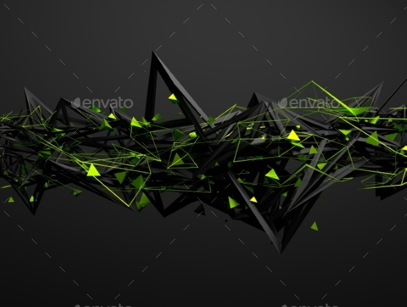Abstract 3D Rendering Of Chaotic Structure - Tech / Futuristic Backgrounds
