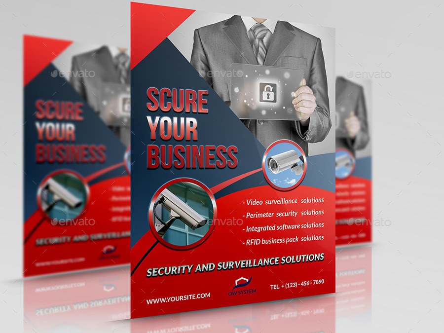 security system flyer template by owpictures