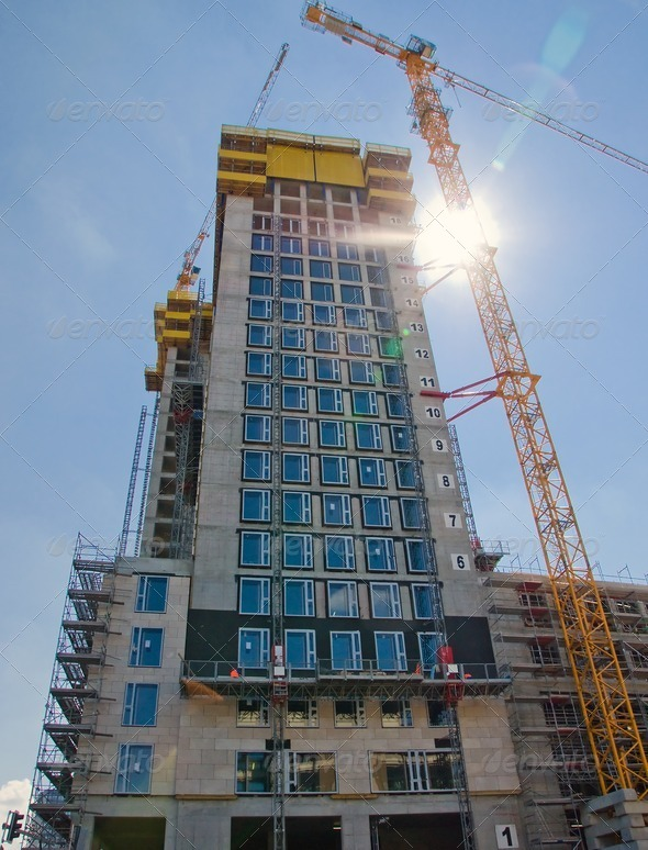 Construction of a skyscraper - Stock Photo - Images