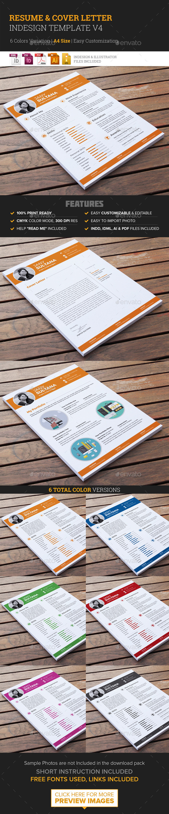 Resume & Cover Letter Template v4  - Resumes Stationery