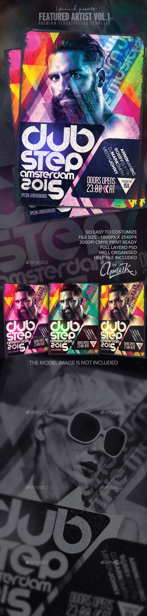 Featured Artist Vol.1 - Electro Dj - Flyers Print Templates