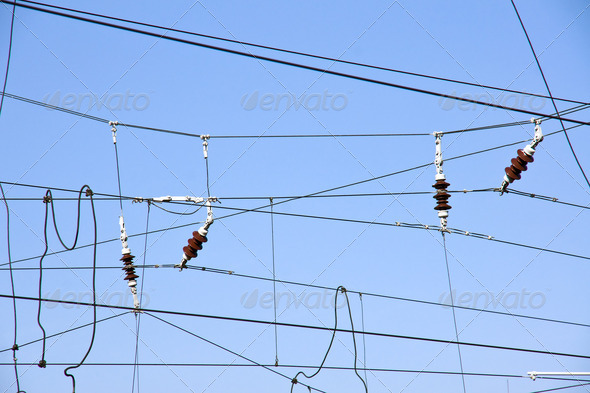 Overhead contact wires - Stock Photo - Images