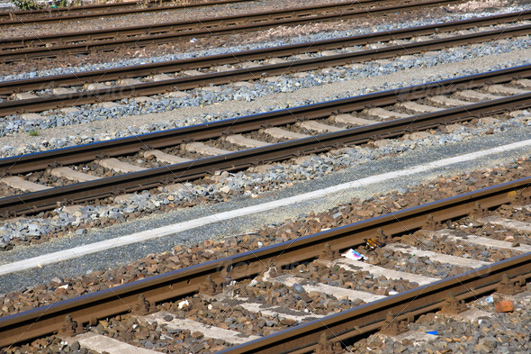 Some railroad tracks - Stock Photo - Images