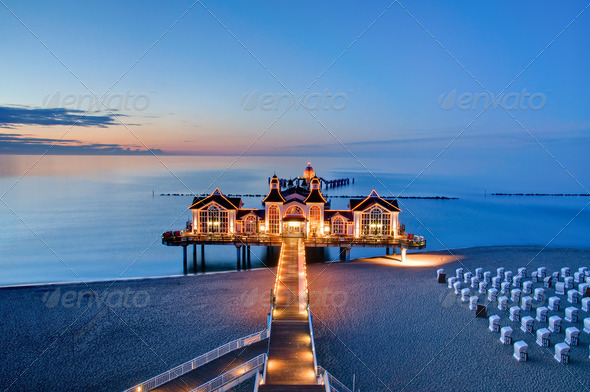 Pier with restaurant at the Baltic Sea, Germany - Stock Photo - Images