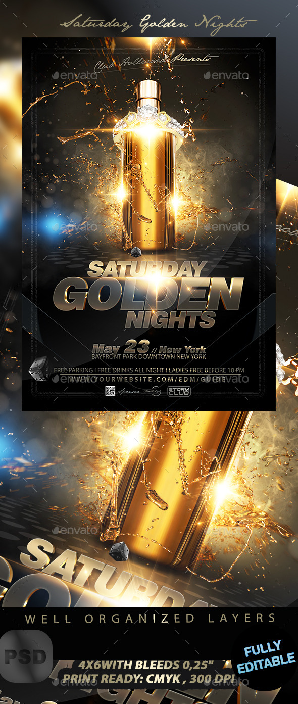 Saturday Golden Nights - Events Flyers