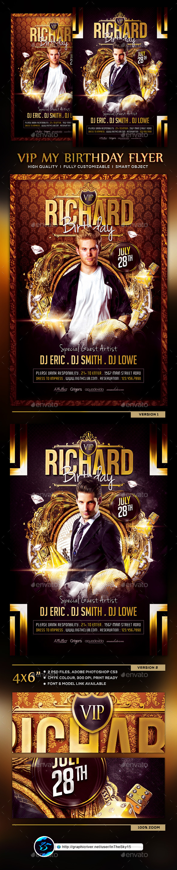 VIP My Birthday V3 Flyer Template - Flyers Print Templates