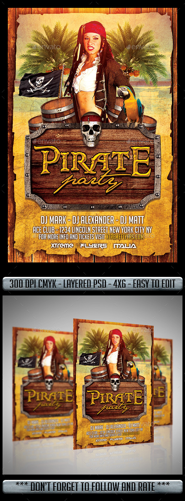 Pirate Costume Party Flyer - Flyers Print Templates