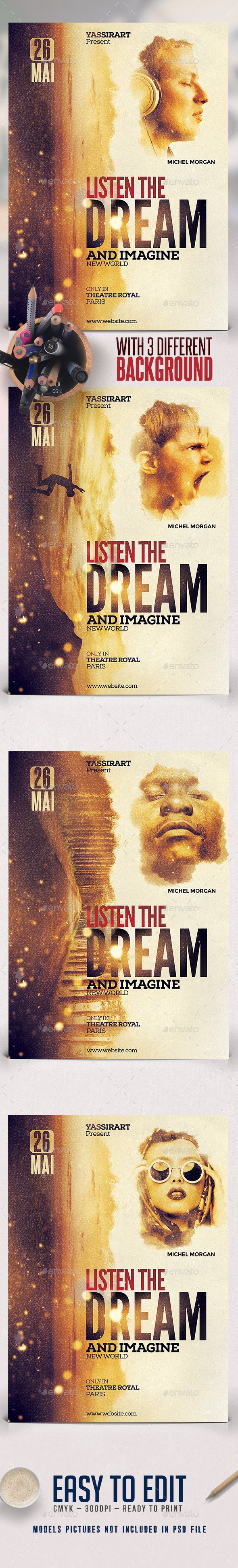 A3 Dream Film Poster Template - Miscellaneous Events