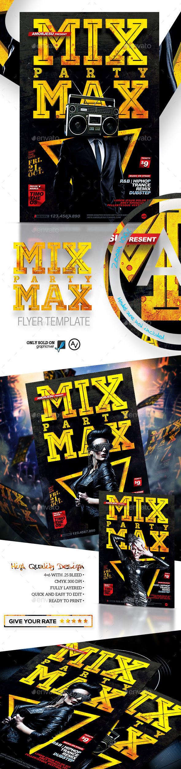 Mix Max Party Flyer Template - Clubs & Parties Events