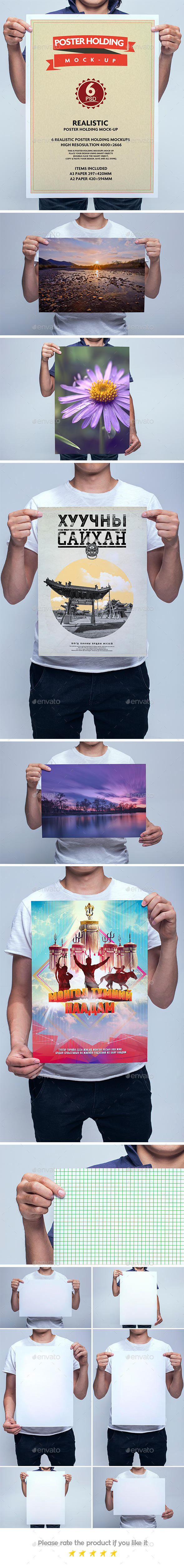 Realistic Poster Holding Mock-Up - Posters Print