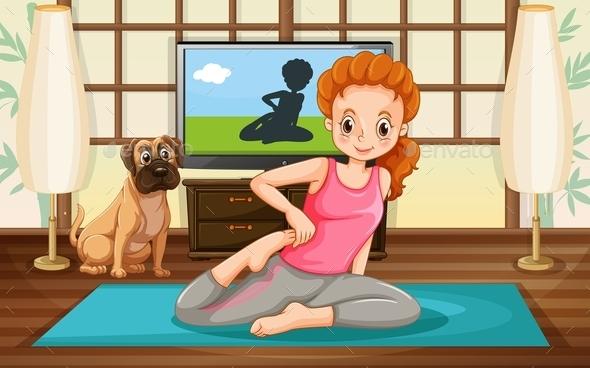 Girl and Yoga - People Characters