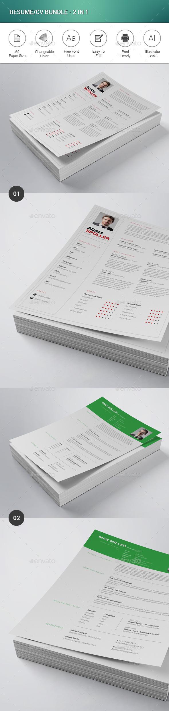 Resume/CV Bundle - 2 in 1 - Resumes Stationery