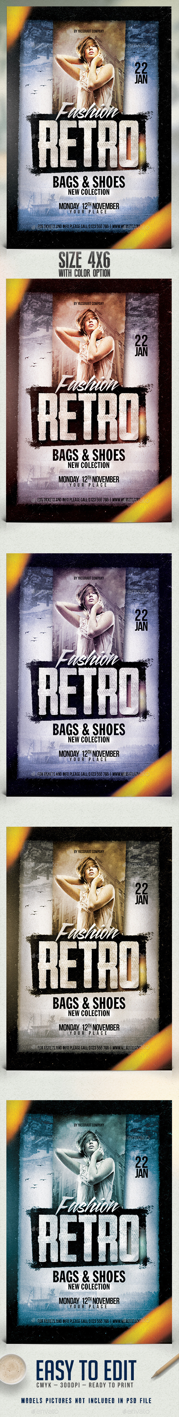 Fashion Retro Flyer Template - Clubs & Parties Events