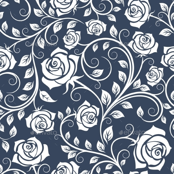 White And Blue Seamless Pattern With Roses - Backgrounds Decorative