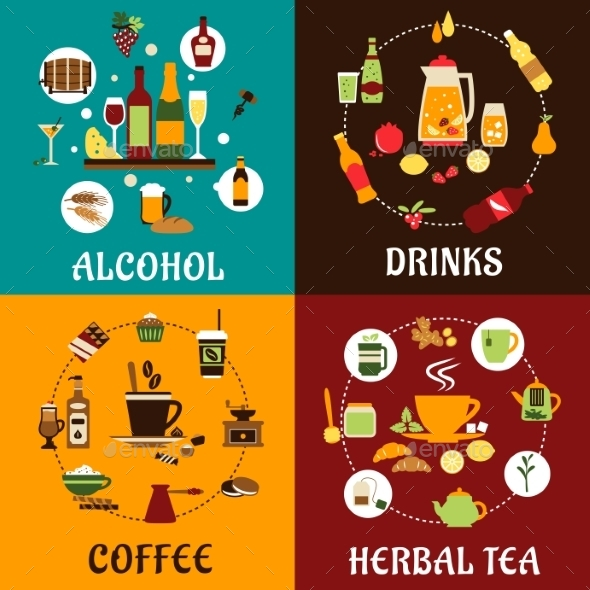 Beverages, Snacks And Drinks Flat Icons - Food Objects