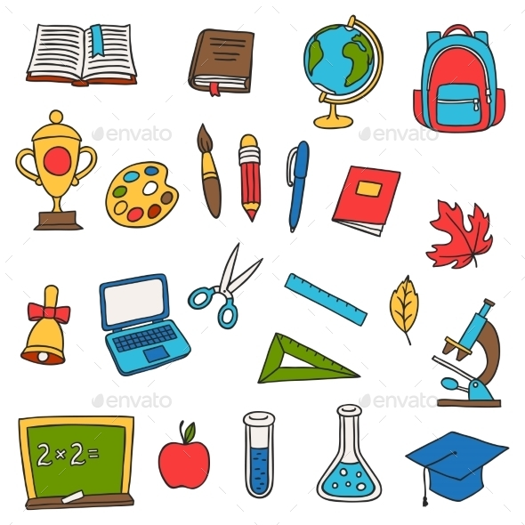 School And Education Set Of Hand Drawn Doodles - Industries Business