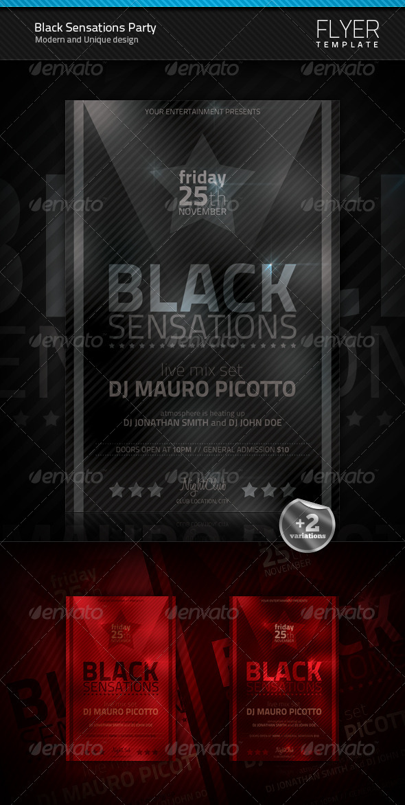 Black Sensations Party Flyer - Clubs & Parties Events