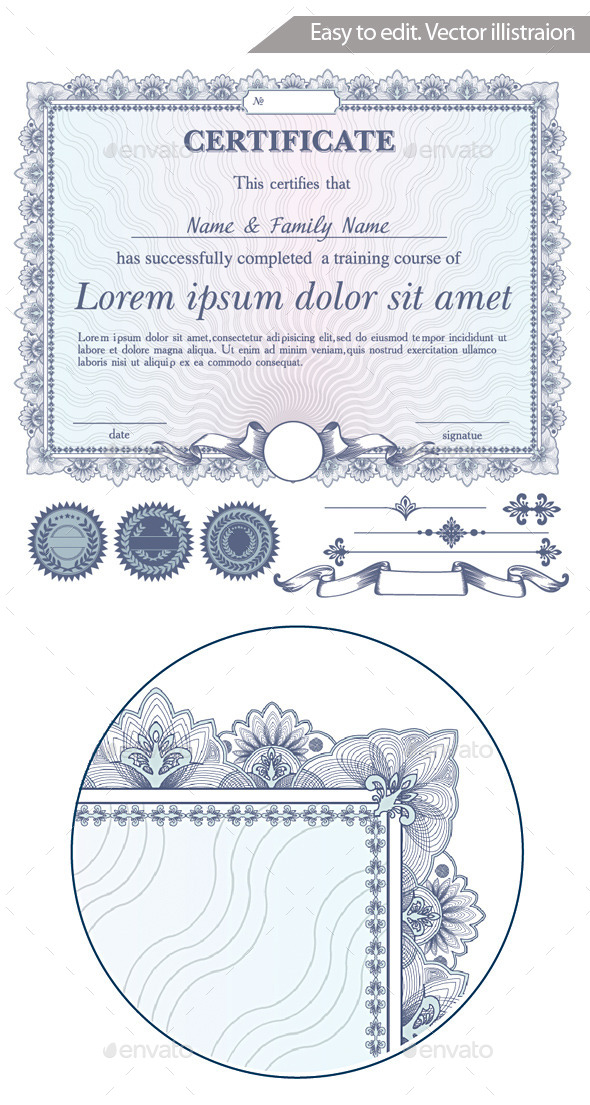 Vector Blue Certificate Or Coupon Template With Ad - Decorative Vectors