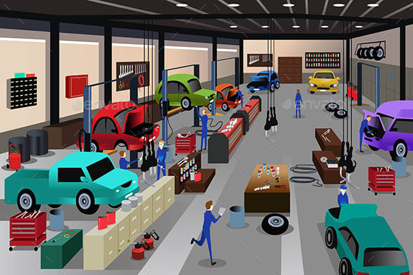 Scenes in an Auto Repair Shop - Industries Business