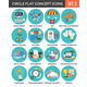 Circle Colorful Concept Icons. Flat Design. Set 2. - GraphicRiver Item for Sale