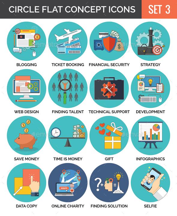 Circle Colorful Concept Icons. Flat Design. Set 3. - Vectors