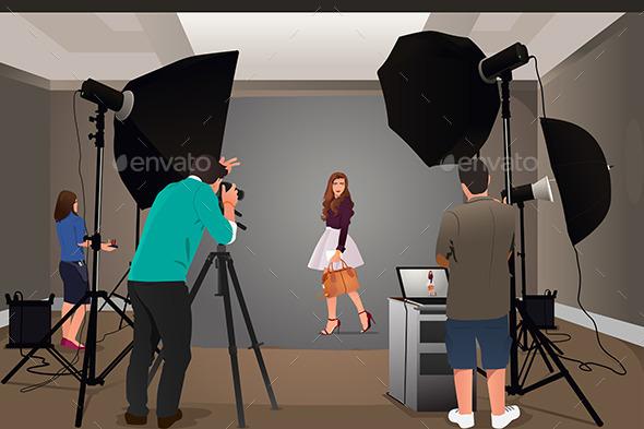 Photographer Shooting Model - People Characters