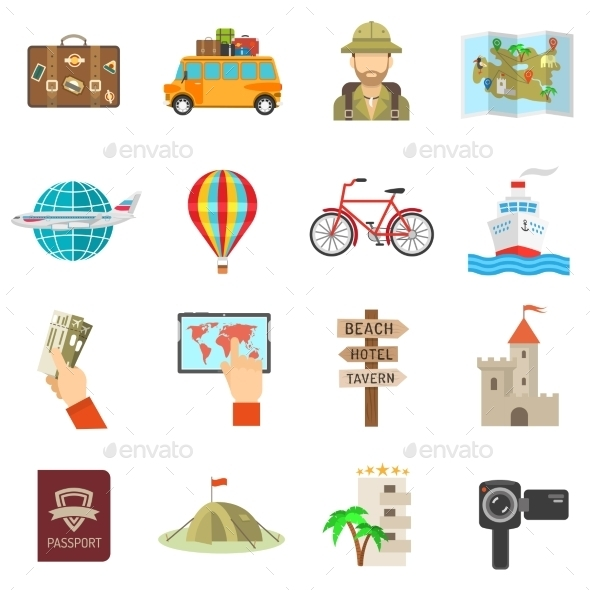 Travel Icons Flat - Travel Conceptual