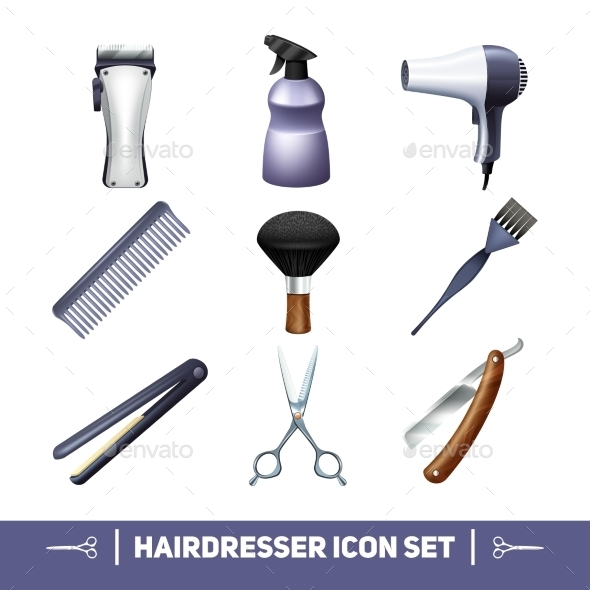Hairdresser Icons Set - Objects Vectors