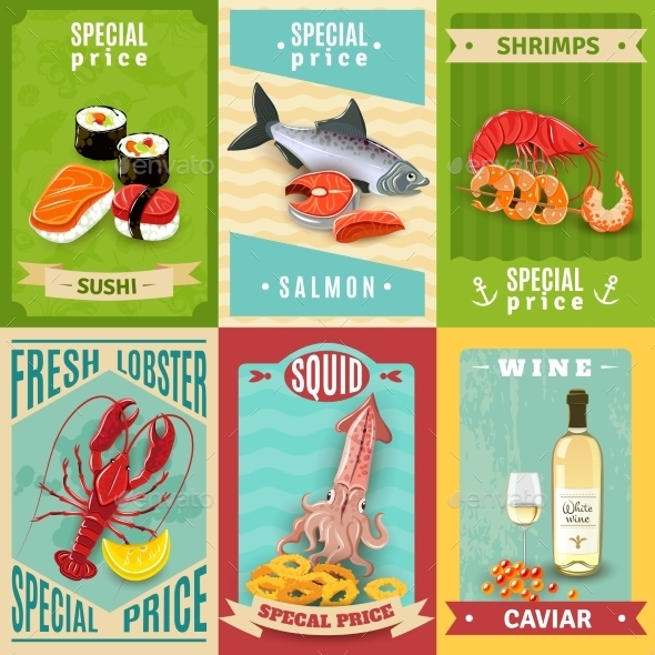 Seafood Poster Set - Food Objects