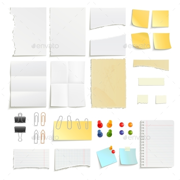 Paper Notes And Clips Object Set - Technology Conceptual