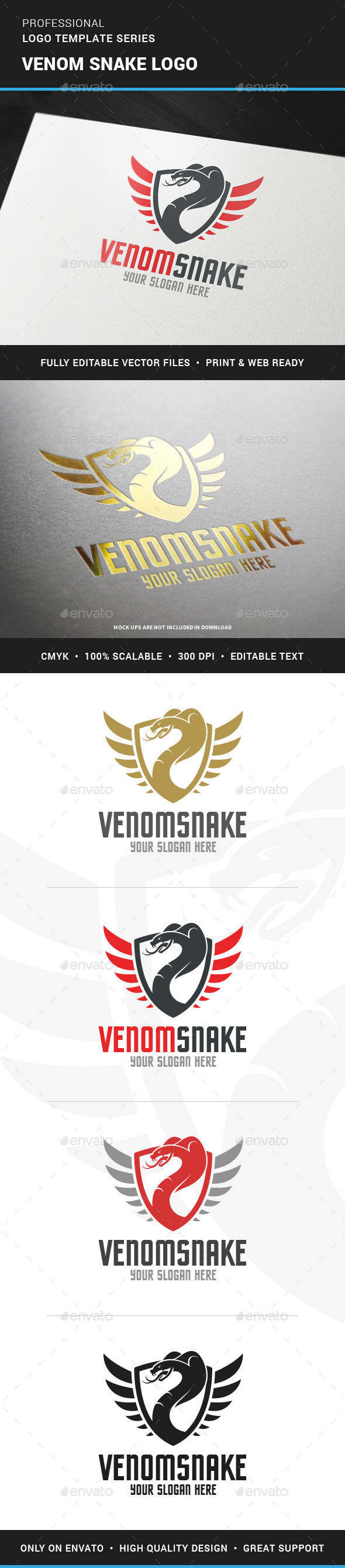 Venom Snake Logo Template - Animals Logo Templates