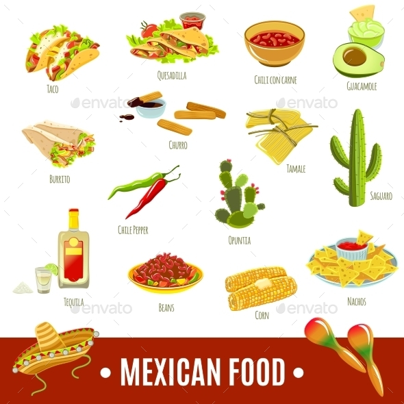Mexican Food Icon Set - Food Objects
