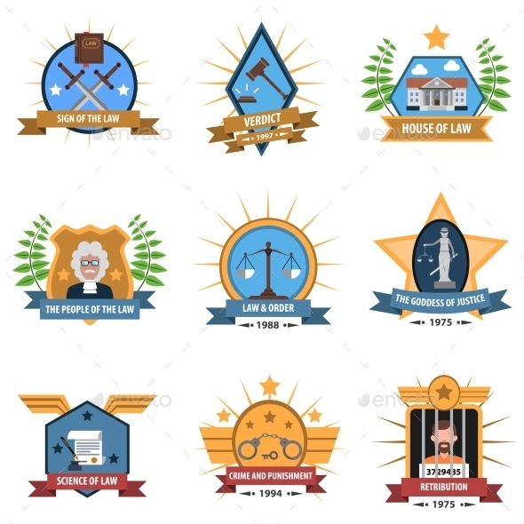 Law Label Set - Miscellaneous Vectors