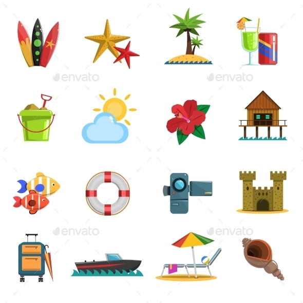 Beach Icons Flat - Miscellaneous Icons